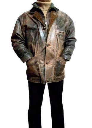 Утепленная мужская кожаная куртка пилот woodlands