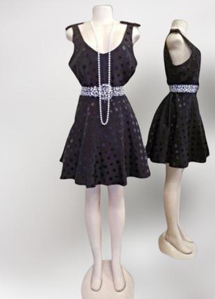 Шикарное новое черное расклешенное платье papaya в блестящий а...