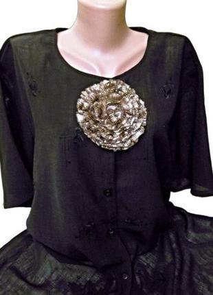 Черная блуза с вышивкой, большой размер