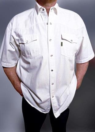 Белая мужская джинсовая рубашка underground, большой размер