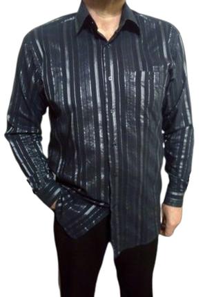 Нарядная мужская темно синяя рубашка viviiano в серебристую по...