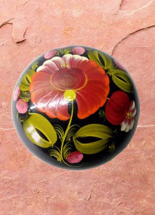 Круглая винтажная деревянная шкатулка, петриковская роспись