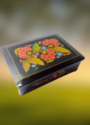 Винтажная деревянная прямоугольная шкатулка, петриковская роспись