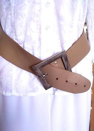 Бежевый кожаный толстый ремень унисекс с металлической пряжкой