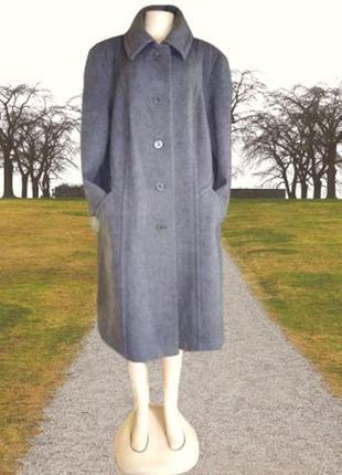Серое полу шерстяное демисезонное пальто, большой размер
