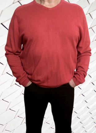 Красный пуловер реглан унисекс marks & spencer, большой размер
