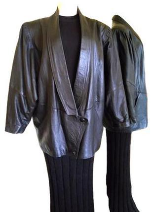 Женская черная кожаная куртка georgiani большого размера, нико...