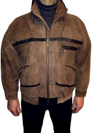 Кожаный бомбер итальянского бренда leonardo, утепленная мужска...