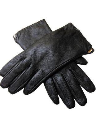 Перчатки женские зимние из натуральной черной кожи на меху