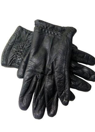 Женские черные кожаные перчатки на вязаной трикотажной подкладке