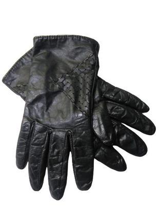 Черные кожаные женские перчатки на вязаной трикотажной подкладке