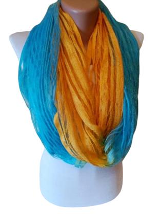 Воздушный шарф хомут бирюзового желтого цвета