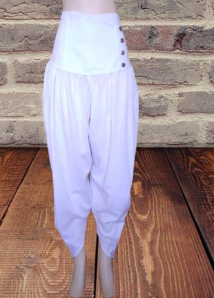 Белоснежные летние брюки jean phillipe на высокой резинке, сбо...