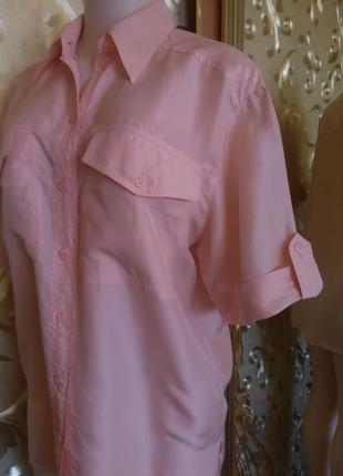 Рубашка шелковая пудрового цвета пог-55 см.