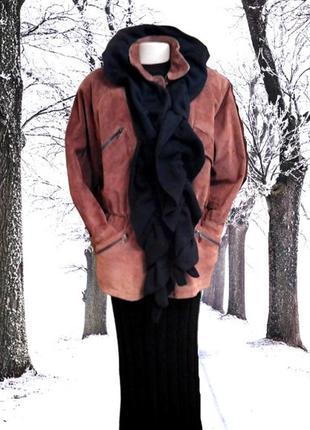 Женская куртка kasual, натуральная замша на синтепоне  пог-62 см