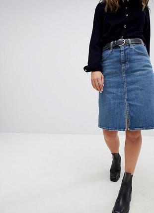 Брендовая юбка – миди с разрезом спереди