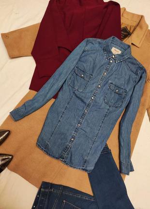 Натуральная хлопковая джинсовая рубашка синяя голубая с длинны...