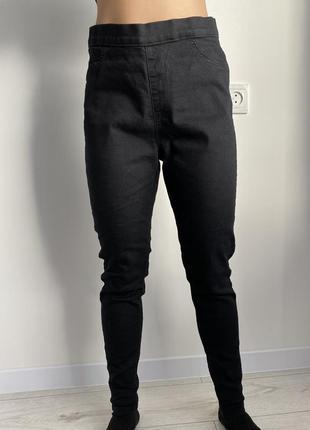 Черные брюки с высокой посадкой, черные штаны.