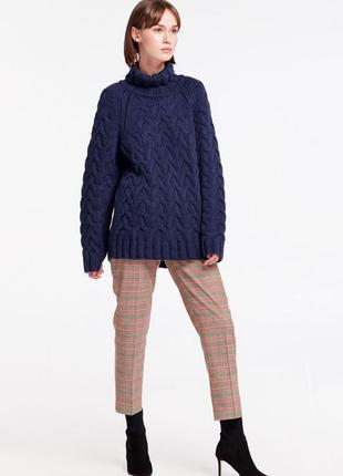 Синий свитер косы оверсайз  водолазка гольф esmara высокое горло