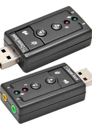 USB Звуковая карта внешняя 3D звук 2 порта+функции