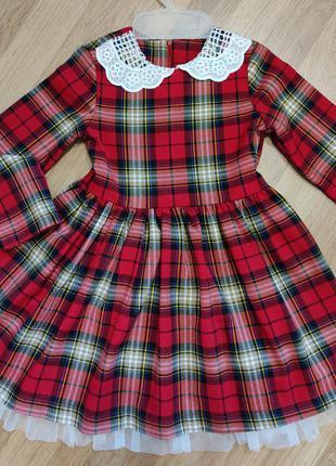 Красное платье в клетку 4-5 лет
