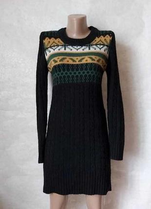 Силуетное вязанное платье/туника/свитер в косах с орнаментом с...