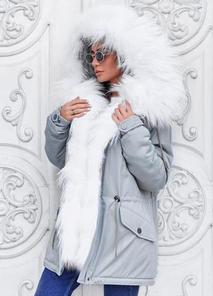 Парка женская короткая светло - серая зимняя куртка, мех аркти...