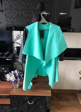 Пальто кардиган,цвет бирюзовый кашемировый с кожаными рукавами