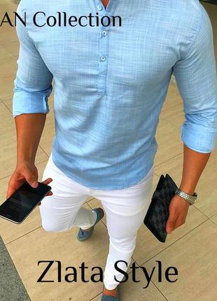Крутая мужская рубашка с лёна, льняная рубашка ,голубая праздн...