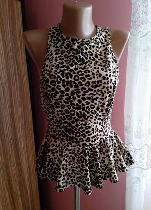 Леопардовая блузка с баской atmosphere
