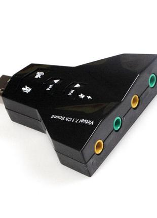 USB Звуковая карта внешняя 3D звук 4 порта+функции