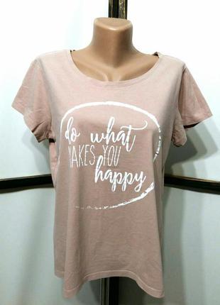 Пудровая футболка с принтом надписью бренд blue motion