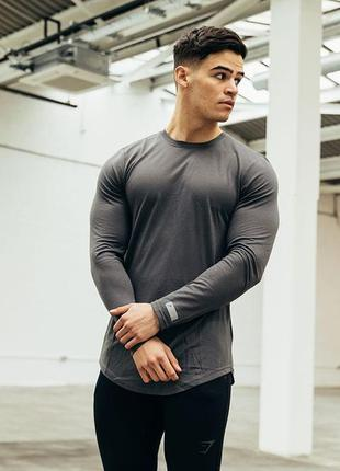 Лонгслив черный спортивний перфорованый gymshark perforated