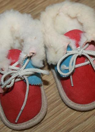 Цветные тапочки пинетки с мехом для малыша