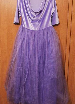 Платье сиреневое, вилюр /фатин