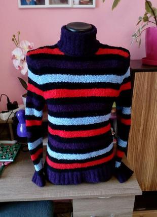 Разноцветный свитер-гольф в полоску