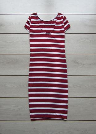 Трикотажно миди платье-футболка футляр в полоску италия