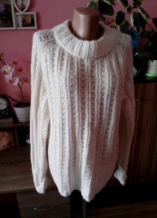 Шерстянной свитер крупная вязка в косы с натуральной шерстью а...