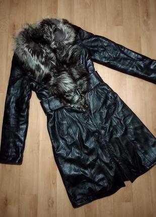 Зимняя натуральная дублёнка, кожаное пальто, чернобурка.