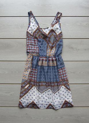 Легкое шифоновое платье сарафан с красивой спиной в узоры от h...