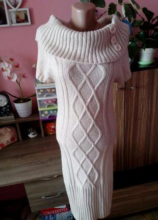 Теплое зимнее вязаное платье jane norman,размер м