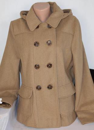 Демисезонное пальто полупальто с капюшоном и карманами new loo...
