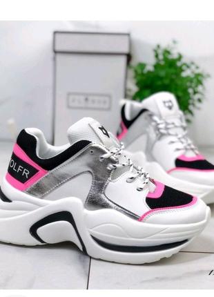 Женские кроссовки белые с черным и розовым Naked Wolf 12275