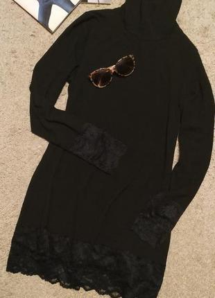 Tredi черное платье водолазка а-силуэта, с кружевом
