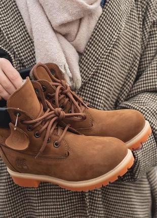 Timberland brown меховые женские ботинки в горчичном цвете /ос...