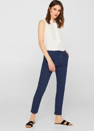 Синие женские брюки в полоску esprit, размер xxl