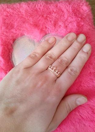 Позолоченное кольцо корона,размер 17