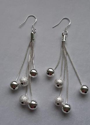 Серьги, серебро 925, длинные, кисти, кисточки с шариками