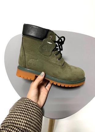 Timberland khaki шикарные меховые женские ботинки /осень/зима/...