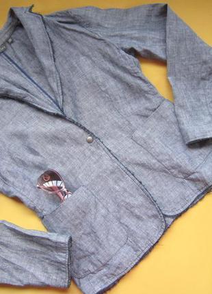 Льняной стильный пиджак,жакет,джинсовый цвет,р.38